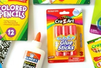 Colored pencils, glue and craft supplies