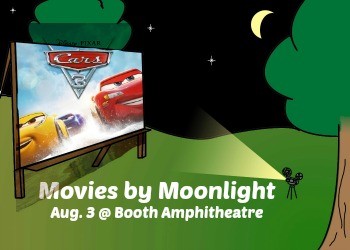 Illustration of outdoor movie screen with Cars 3