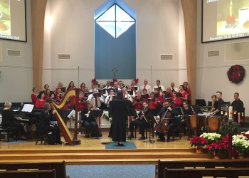 Adult choir and instrumentalists at Woodhaven Baptist Church